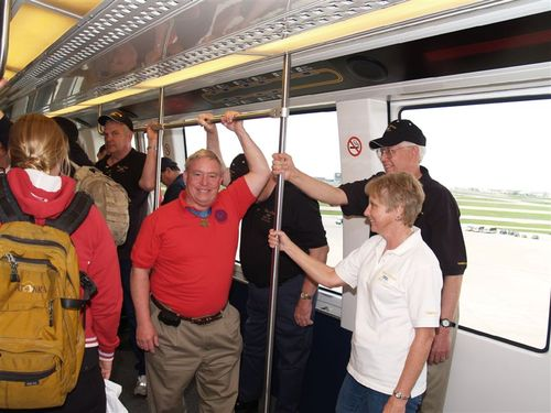 Don Ballard, Joanie and Steve try DFW's SkyTrain