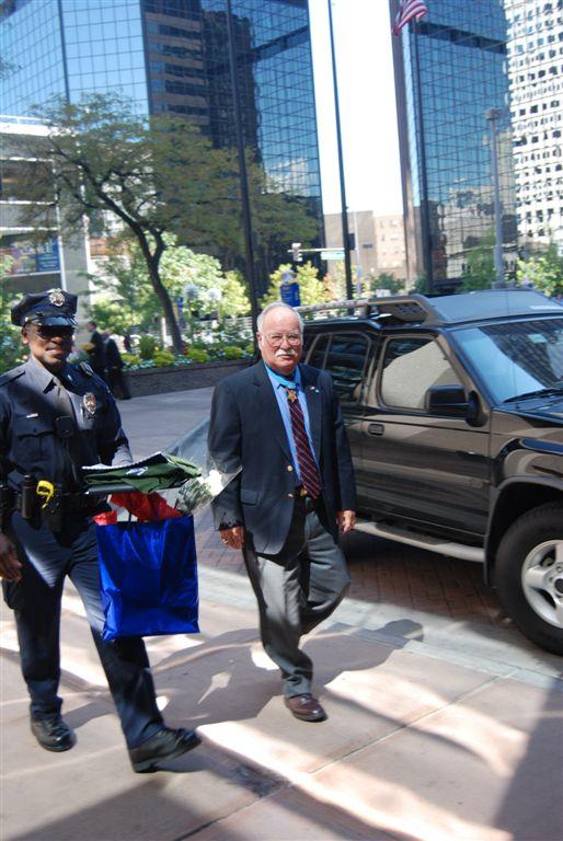 Barney Barnum arrives with honor guard