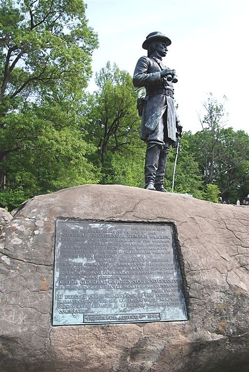 23    A bronze statue of Gov. Gouverneur K. Warren